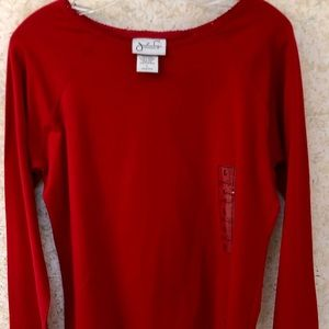Jonathan Logan Size L Red Long Sleeves Top Jewels